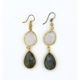 Brass earrings with a Labradorite and a white Moonstone
