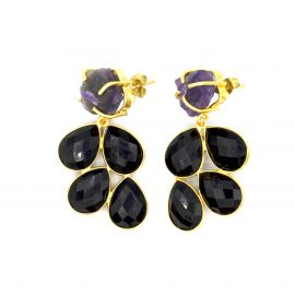 Yellow brass earrings with Onyx and Amethist