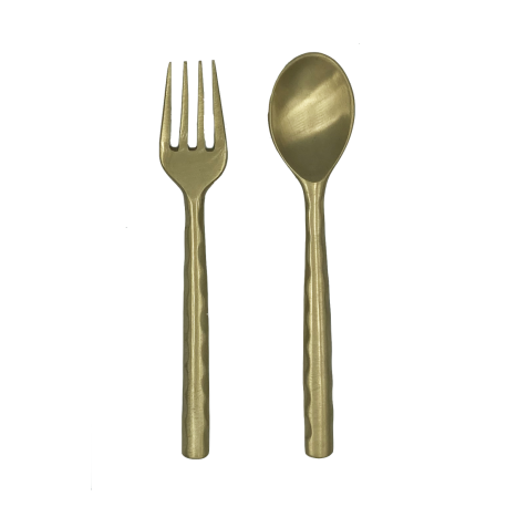 Matte brass fork and spoon