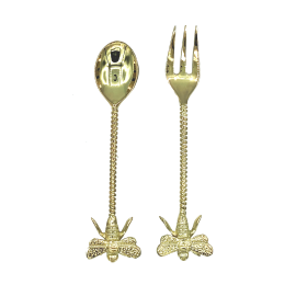 Brass fork and spoon with bee handle
