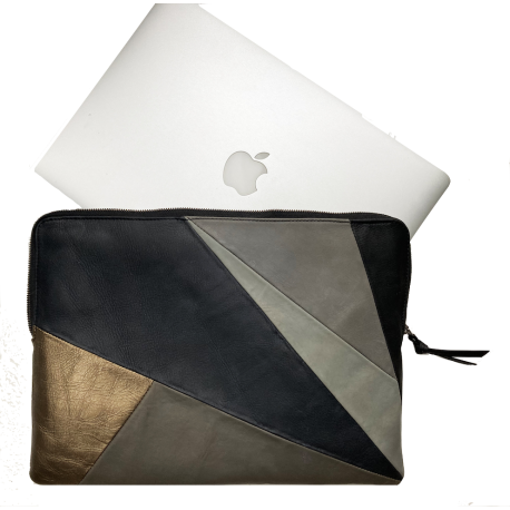 Leather laptop sleeve Lucas natural patchwork 13  inch Apple