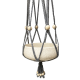 Grijze macramé, cotton hanger with white wooden beads
