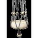 Grijze macramé, katoenen hanger met witte houten kralen