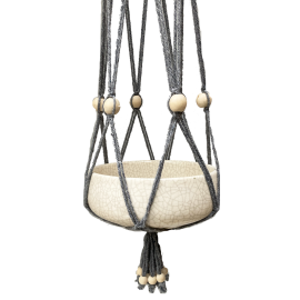 Grijze macramé, cotton hanger with white wooden beads