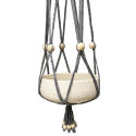 Grey, macramé, cotton hanger with white, wooden beads