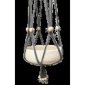 Grijze, macramé, katoenen hanger met witte houten kralen