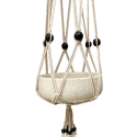 White, macramé, cotton hanger with black, wooden beads