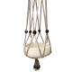 Taupe macramé cotton hanger with black, wooden beads