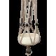 Taupe, macramé katoenen hanger met zwarte, houtel kralen
