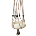 Taupe, macramé cotton hanger with black, wooden beads