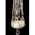 Taupe, macramé katoenen hanger met zwarte, houte kralen