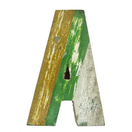 Wooden letter A made out of old fishing boat