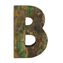 Wooden letter B made out of old fishing boats