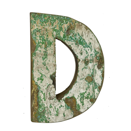 Wooden letter D made out of old fishing boats