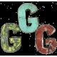 Houten letter G gemaakt van oude vissersbootjes