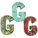 Wooden letter G made out of old fishing boats