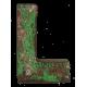 Houten letter L gemaakt van oude vissersbootjes