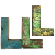 Wooden letter L made out of old fishing boat