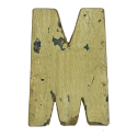 Wooden letter M made out of old fishing boats