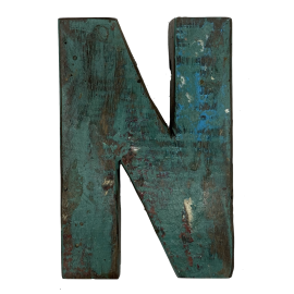 Wooden letter N made out of old fishing boats