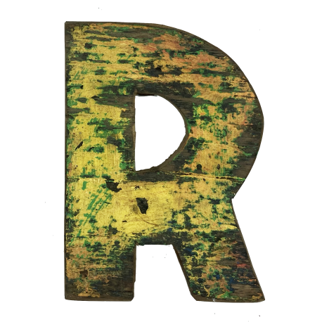 Wooden letter R made out of old fishing boat