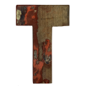 Wooden letter T made out of old fishing boats