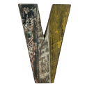 Wooden letter V made out of old fishing boats