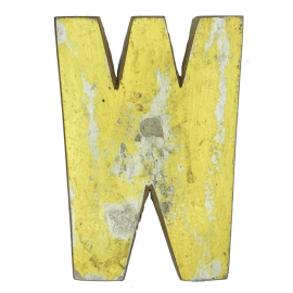 Wooden letter W made out of old fishing boats