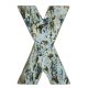 Wooden letter X made out of old fishing boats