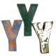 Wooden letter Y made out of old fishing boats
