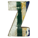 Wooden letter Z made out of old fishing boats