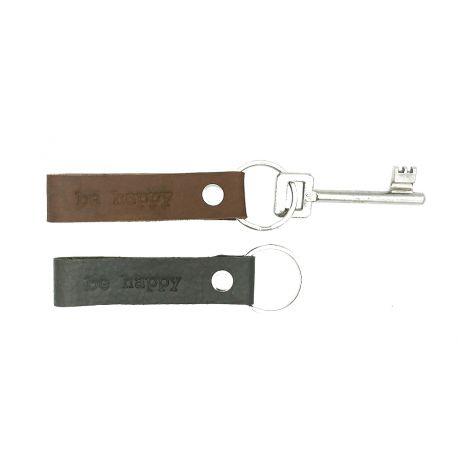 Leather key hanger Misty BE HAPPY
