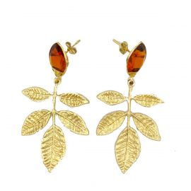 Brass earrings with citrine
