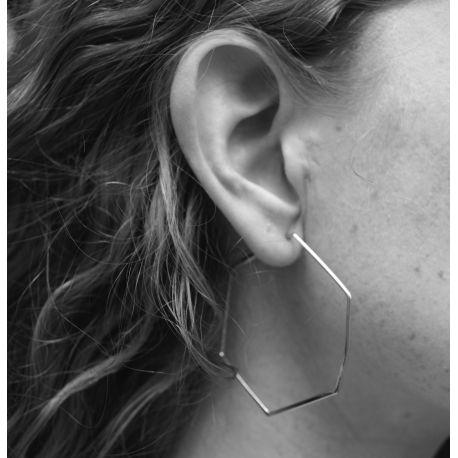 Silver earring Gerbera hexagone