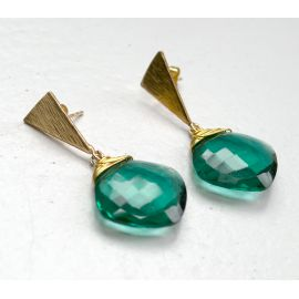 Brass earrings Blair with teal colored quartz
