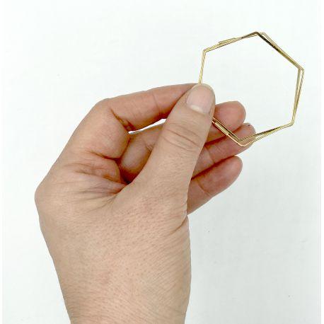 Gold plated earrings Gerbera Hexagoon