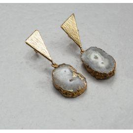 Brass earrings Riva with a druzy stone