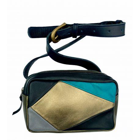 Leather bum bag Dorus patchwork combi 2