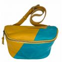 Leather bum bag Doug combi 1 turquoise+tan