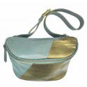 Leather bum bag Doug combi 2 gold+grey
