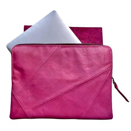 Leather laptop sleeve Lucas patchwork 13 inch fuchsia/bordeauu